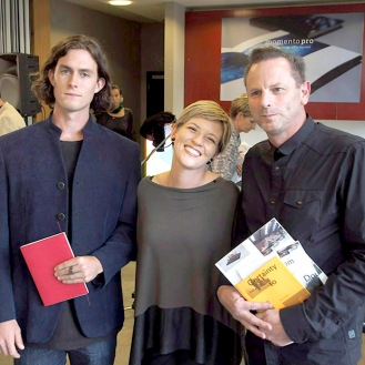 Libby Jeffery with Solomon Mortimer and Mark Purdom - Winners of the NZ Photobook of the Year Award PHOTO: Doug Spowart