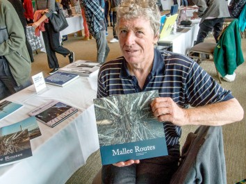 Gary Sauer-Thomson with his book Mallee Routes