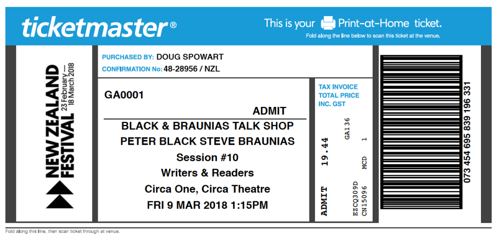 A ticket to Peter Black's interview with Steve Braunias
